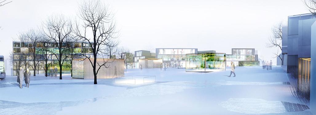 Winter view of the winning EUROPAN 11 Vienna proposal for Dreiecksplatz