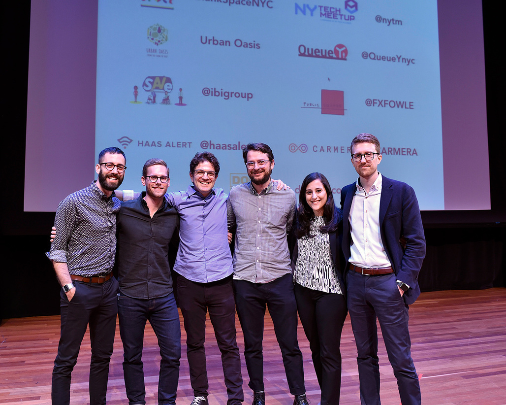 The winners with Blank Space co-founders Francesca Giuliani and Matthew Hoffman, photographed at NYCs Skirball Center. Photo: Craig Williston/QoolFoto.
