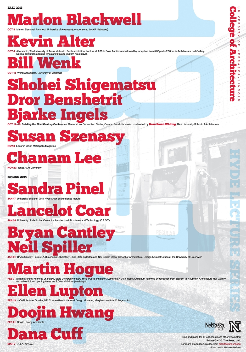 Poster for the Hyde Lecture Series from the University of Nebraska - Lincoln, College of Architecture. Poster photo credit: Matthew DeBoer. Image courtesy of UNL College of Architecture.