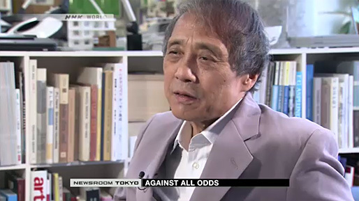 Tadao Ando, visibly aged, in a recent interview with Japanese news outlet NHK. (Image via nhk.or.jp)