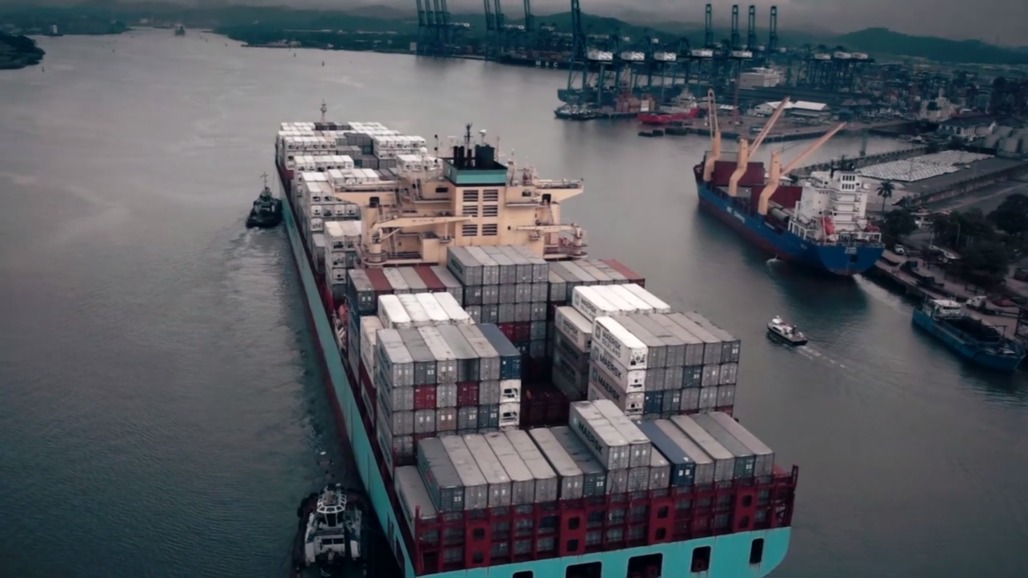 "A super large container ship or a ""post-Panamax,"" which requires the expansion of the Panama Canal. Credit: Radiant Features / the History Channel"