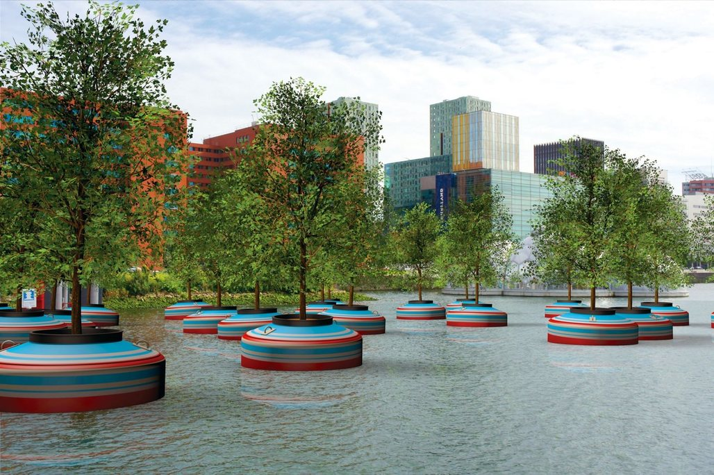 Rendering of the floating forest that will be planted in Rotterdams Rijnhaven downtown harbor basin next year. (Image via popupcity.net)