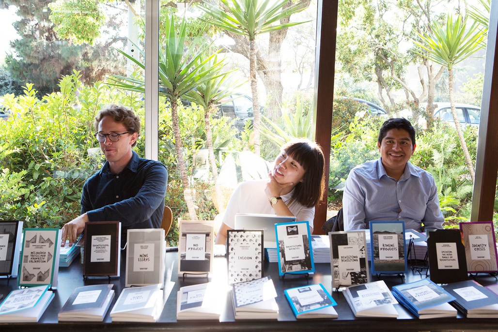 CalPoly student Volunteers helm the book table at May 2nds Treatise Launch at the VDL House. Photo by Diana Koenigsberg