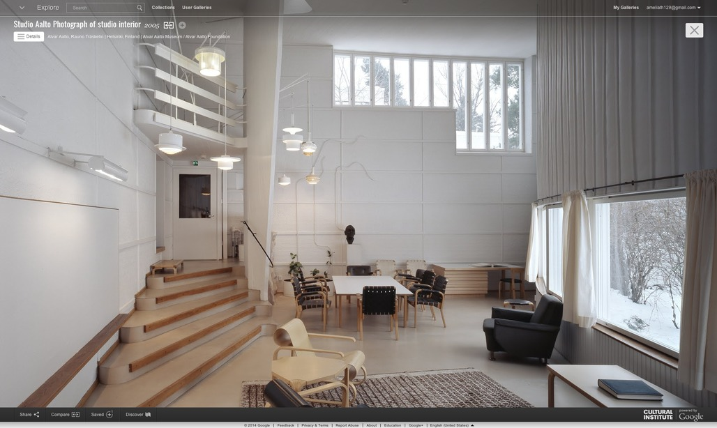 Screen shot of Aaltos studio from the Google Cultural Institute.