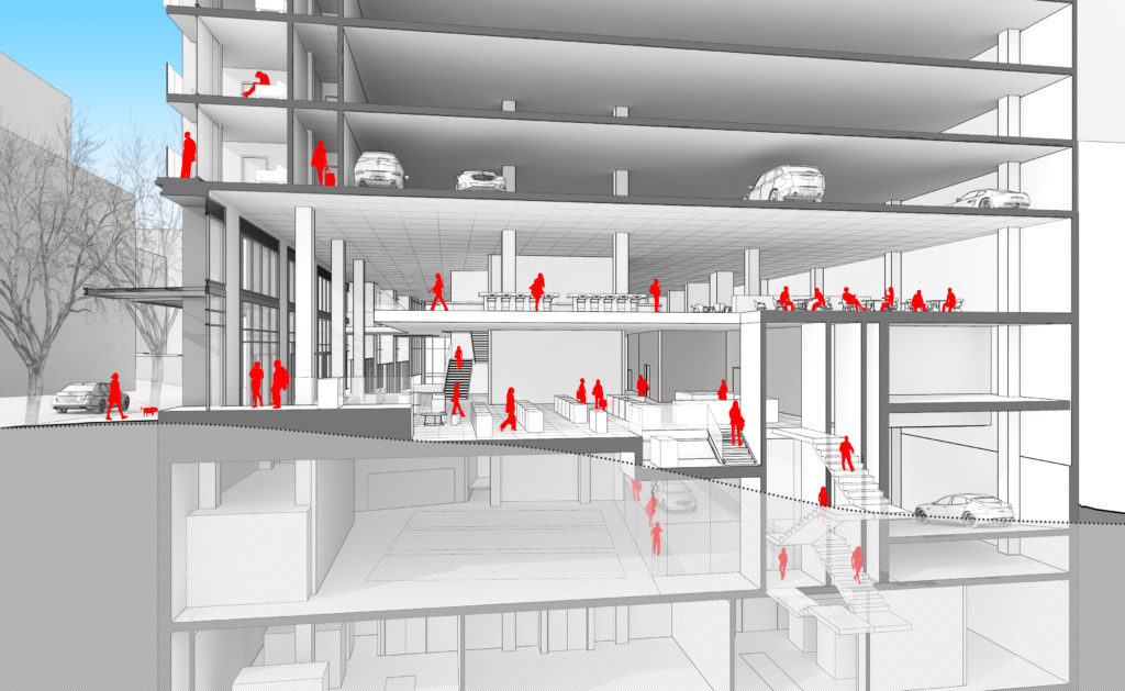 Designing parking garages, that can convert into housing as mobility habits and ownership models evolve over time, demands new approaches like LMN Architects proposed Seattle tower at 4th and Columbia. (Image: LMN Architects; via wired.com)
