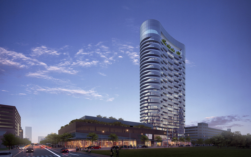 Rendering of RTKLs winning design for a 28-story skyscraper in Indianapolis (Image courtesy of RTKL)