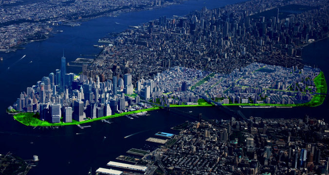 Rendering of NYCs flood-protection proposal for Lower Manhattan. Image via The New York Times.