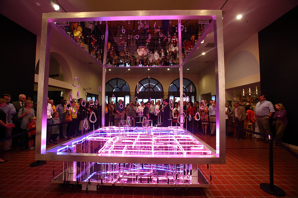 Opening presentation of Up-Downtown, the winning entry of DawnTown's Design/Build competition by Jacob Brillhart & Manuel Clavel-Rojo (Photo courtesy of HistoryMiami)