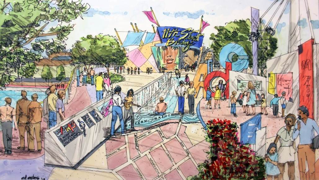 Preliminary concept sketch of D.C.s proposed 11th Street Bridge Park