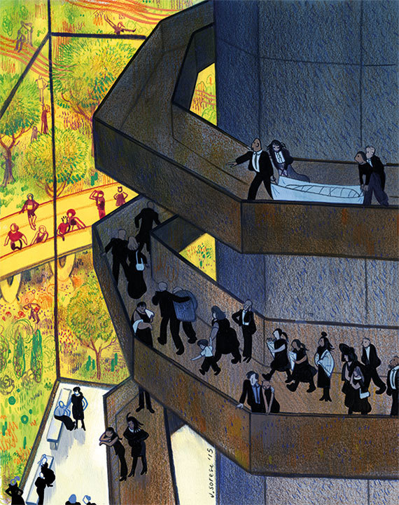 The three-story structure for composting humans could have a circular ramp to the top, for processionals and other funeral rites. Illustration by Jeremy Sorese, via thestranger.com.
