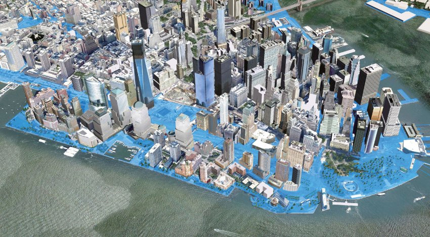 A computer simulation of flooded zones in New York in 2050, based on calculations by the New York Office of Long-Term Planning and Sustainability. According to calculations, the sea level in the city could rise by more than three-quarters of a meter (2.5 feet) by 2050, and by one-and-a-half meters...