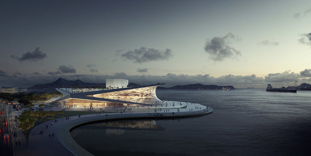 Aerial view of Snøhettas competition-winning Busan Opera House proposal (Image: MIR)