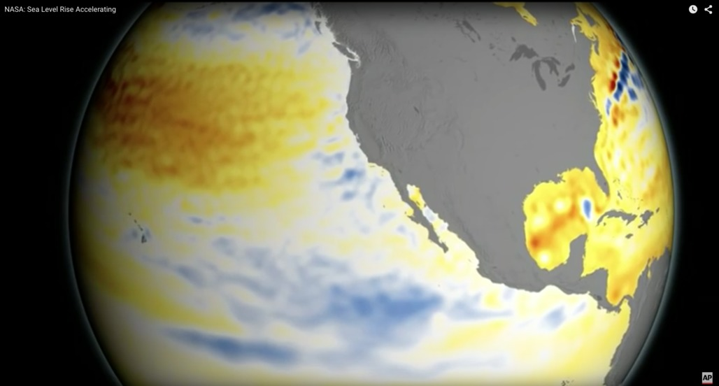 According to new reports from NASA, sea levels have risen four inches in the last two decades. Credit: AP via ScienceDaily