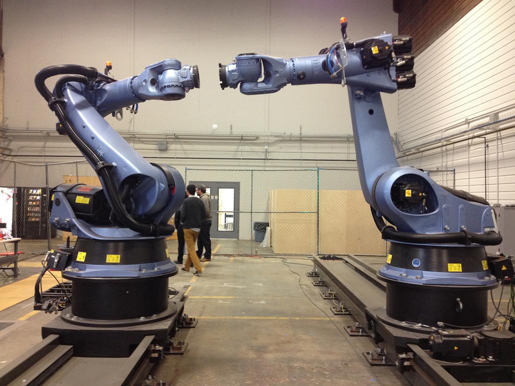 UCLAs IDEAS Kuka KR 150 robots. Image courtesy of Amelia Taylor-Hochberg.