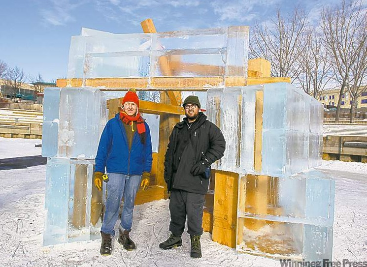 David Wiebe (left) and Sam Gehry with the uncompleted Five-Hole.