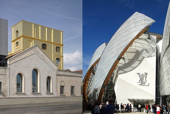 Luxurios opponents: the Rem Koolhaas-designed Fondazione Prada in Milan and Frank Gehrys Fondation Louis Vuitton in Paris. (Photos: Bas Princen, eyepreferparis; Image via The Art Newspaper)