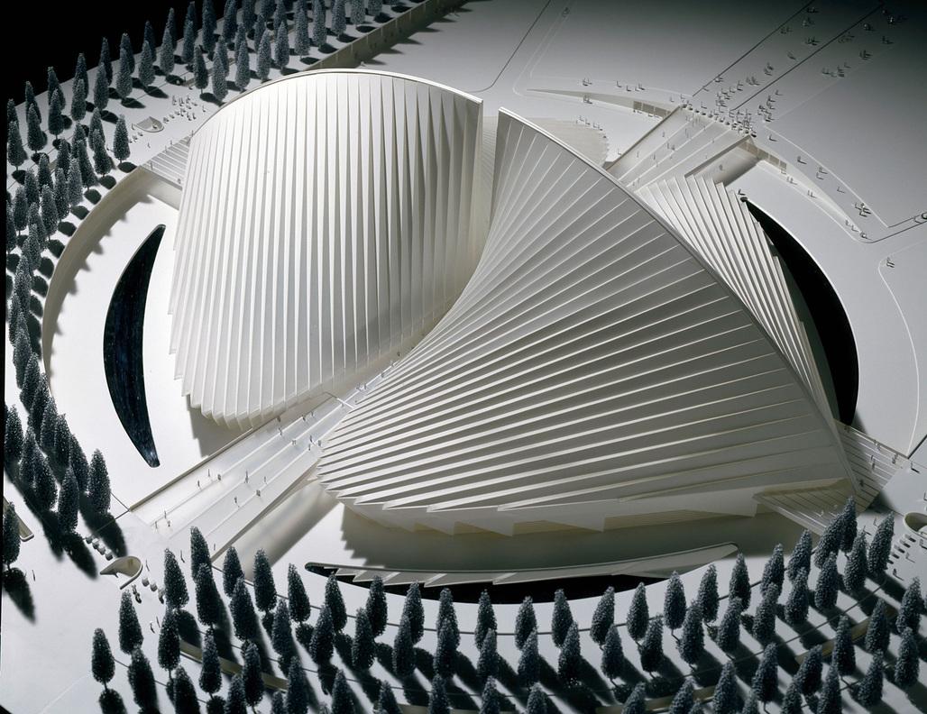 Rome, Università Degli Studi di Roma Tor Vergata, 2005. Model of the Palasport (scale 1:250), 2005 Wood, Plexiglas, Polystyrene, metal, cm 194 x 154 x 76. Property of Studio Calatrava © Santiago Calatrava