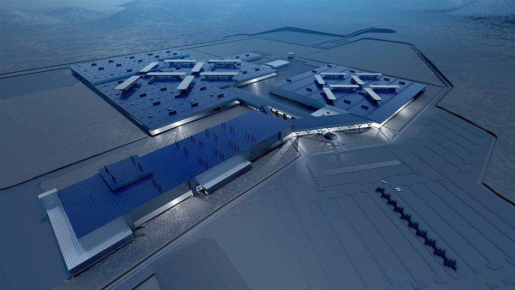 Rendering of Faraday Futures ambitious billion-dollar manufacturing facility in North Las Vegas, Nevada. (Image courtesy of Faraday Futures)