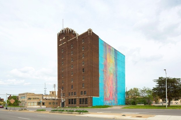 "The courts will decide if Katherine Craigs 2009 Detroit mural The Illuminated Mural (the so-called ""bleeding rainbow"") enjoys protection under the federal Copyright Act or the buildings owner can begin with redevelopment work. (Image: Auction.com)"