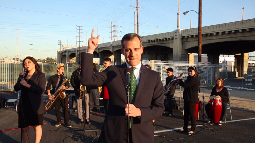 """So on Friday night ... the 101 Freeway east of downtown will take a break for 40 hours of R&R ... and R&B."" – Los Angeles mayor Eric Garcetti, with support from Roosevelt Highs jazz band, breaks the news of an impending traffic nightmare to his fellow Angelenos very, very softly."