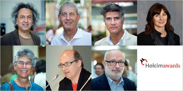 Jury members of the 2015 Holcim Awards (First row, L to R): Mohsen Mostafavi, Marc Angélil, Maria Atkinson. (Second row, L to R): Yolanda Kakabadse, Matthias Schuler, Rolf Soiron