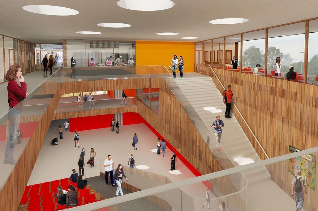 Foyer of Mecanoos winning design for the new Noorderpoort College in Stadskanaal, The Netherlands (Image: Mecanoo)