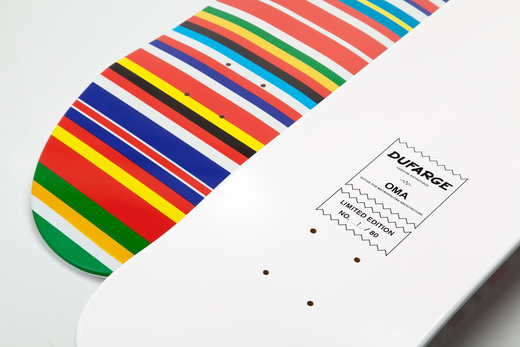 Rem Koolhaas Flag Deck: limited edition Dufarge skateboard deck screenprinted with OMA/AMOs EU Barcode flag. Image courtesy of Dufarge