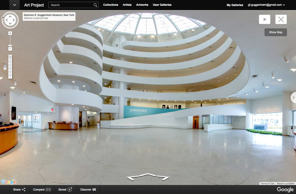 Wanna visit the Guggenheim but really cant make it to New York? You can now enjoy Frank Lloyd Wrights voluptuous curves online via Google Street View technology. On display is last summers Storylines: Contemporary Art at the Guggenheim exhibition. (Photo © Solomon R. Guggenheim Museum, New York)