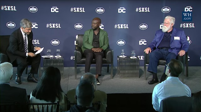 LACMA director Michael Govan in conversation with architect David Adjaye and artist James Turrell at the White Houses South by South Lawn (SXSL) arts and culture festival. (Image via thecreatorsproject.vice.com)