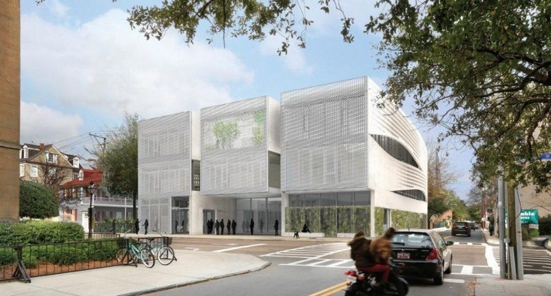 An architects rendering shows the proposed Clemson Architecture Center at 292 Meeting Street in Charleston. Image via postandcourier.com