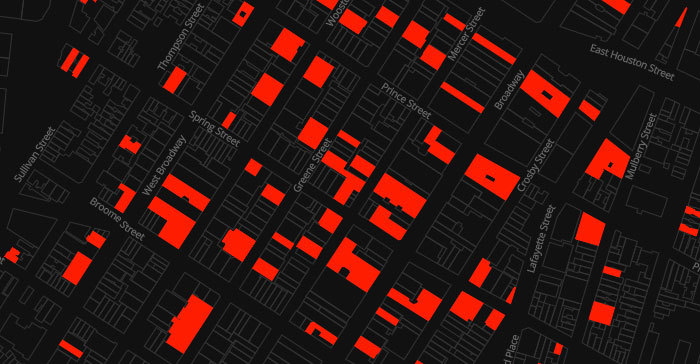 Soho's vacancy problem illustrated. (Image via vacantnewyork.com)