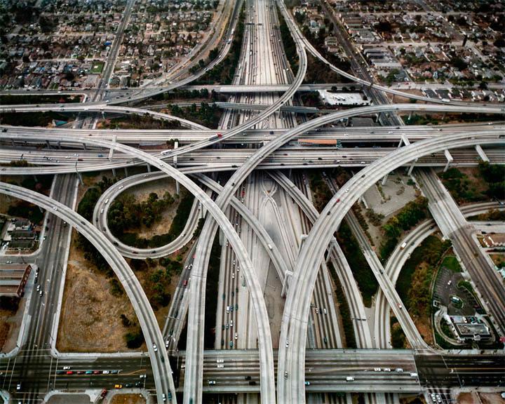 Highway interchange in Los Angeles. Photo by Edward Burtinsky, via darkroastblend.com.