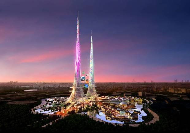 CGI projections of what the £1.2bn project will look like show two solar-powered Eiffel Towers emerging in blazing colour from one of Wuhans many lakes (The Independent; Rendering: Chetwoods)