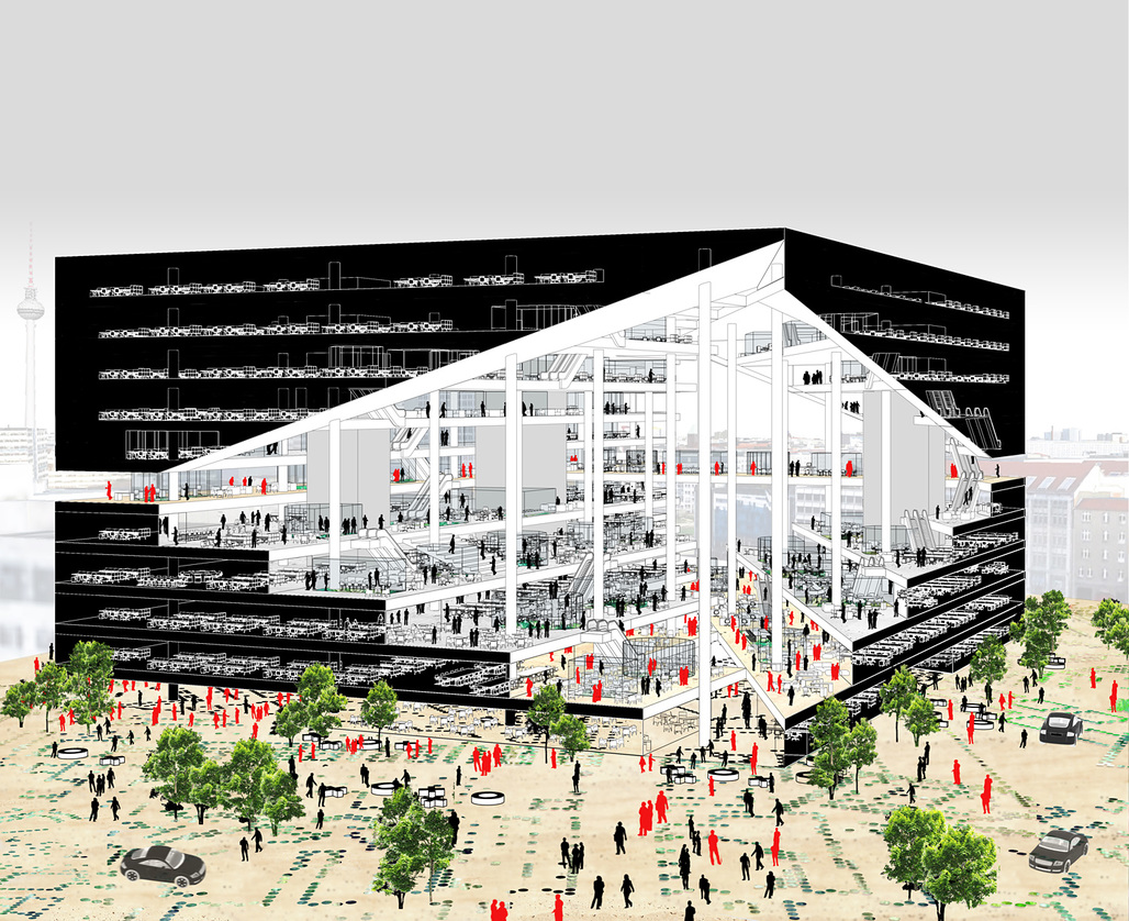 OMAs proposal for the new Axel Springer Media Center in Berlin. Image: OMA