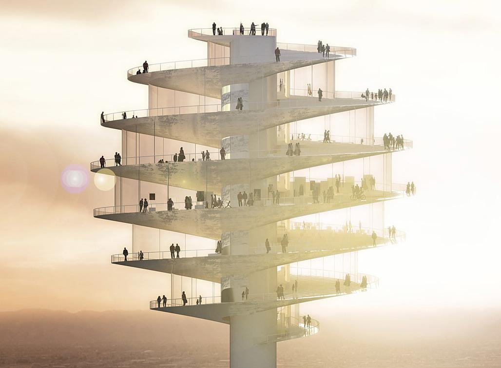 Exterior rendering of the towers spiral-shaped observation platform (Image: BIG)