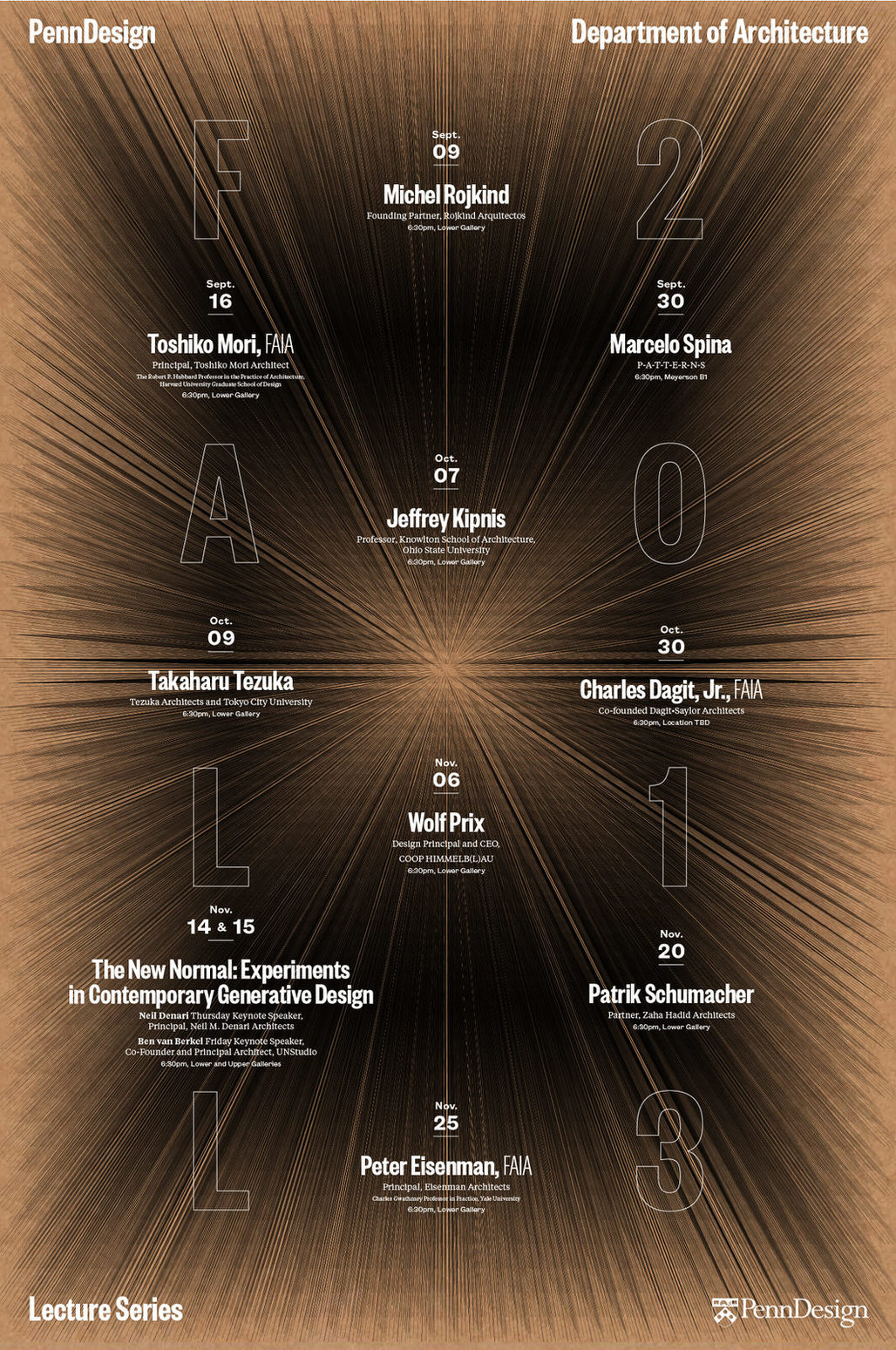 Poster for the Fall 13 lecture events at PennDesign. Design by WeShouldDoItAll (WSDIA). Image courtesy of WSDIA.