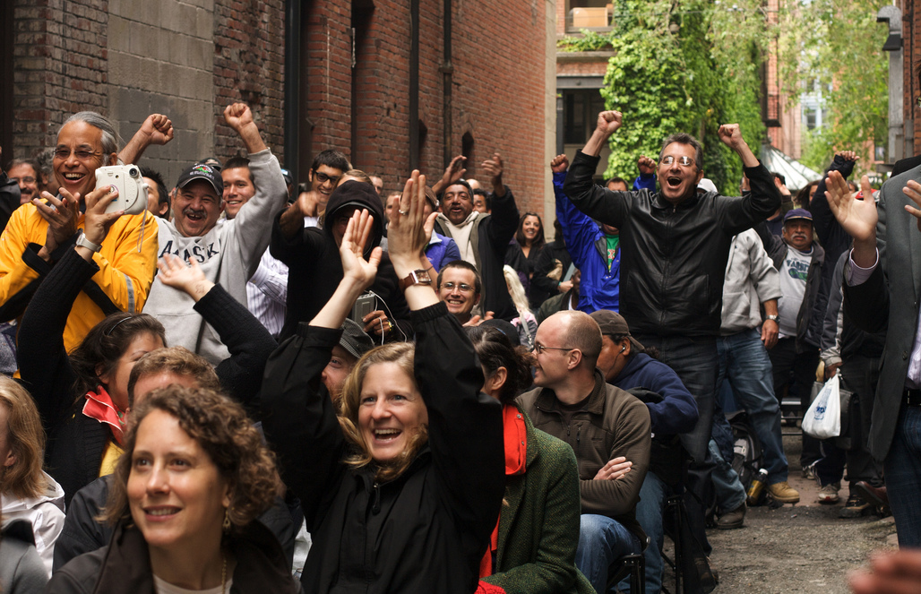 Crowd watches the World Cup in Nord Alley, 2010. Photo courtesy of ISI / Jordan Lewis.