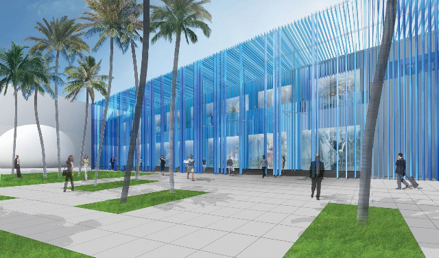 Facade of Miami Design Districts new mixed-use building by Sou Fujimoto. Image courtesy of Nadine Johnson & Associates, Inc.