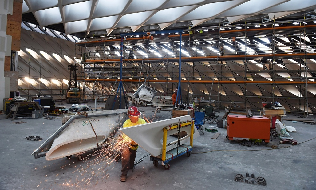 Work progresses on The Broad museum in Los Angeles, which will share a block with the Museum of Contemporary Art and Frank Gehry's Walt Disney Concert Hall. (The Guardian; Photograph: Matt McClain/Washington Post)