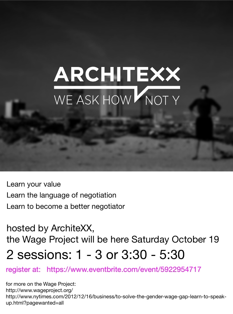 Architexx and the Wage Projects event tomorrow will inform women on salary negotiation skills. Image courtesy of ArchiteXX.