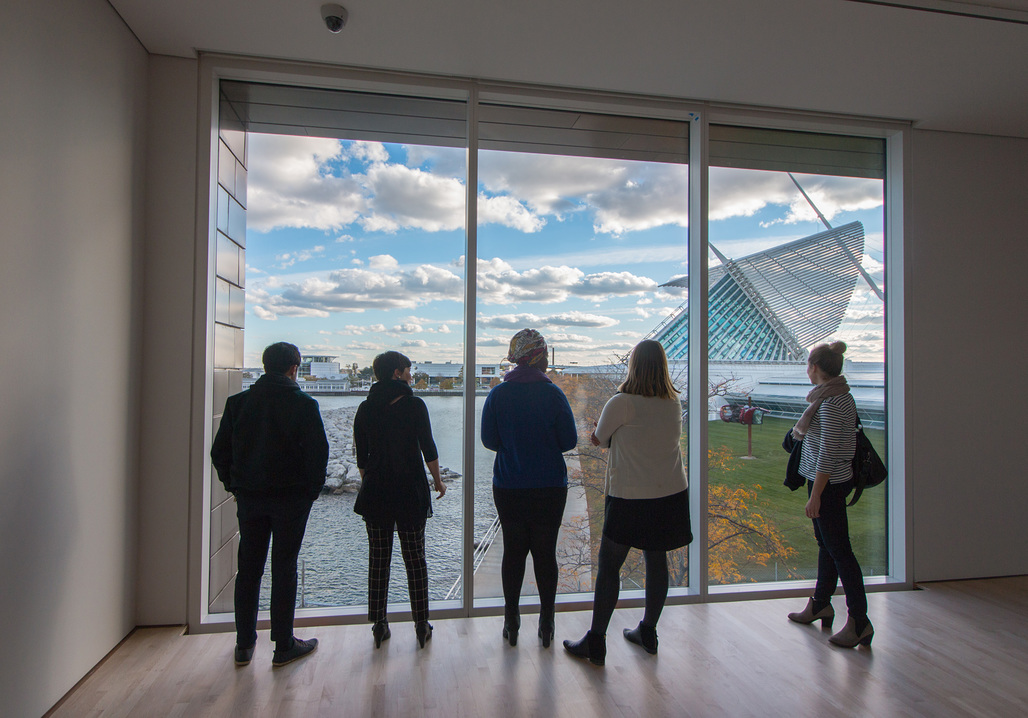 The new galleries offer a stunning view onto Lake Michigan and Calatrava's Quadrucci Pavilion. (Image courtesy of Milwaukee Art Museum)