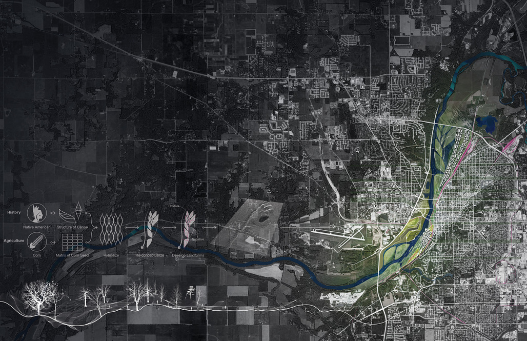 Natural Water as Cultural Water / A 30 Year Plan for Wabash River Corridor in Lafayette by Daniel (Zhicheng) Xu - ASLA 2013 Student Excellence Award Winner. Image courtesy of Daniel Xu.
