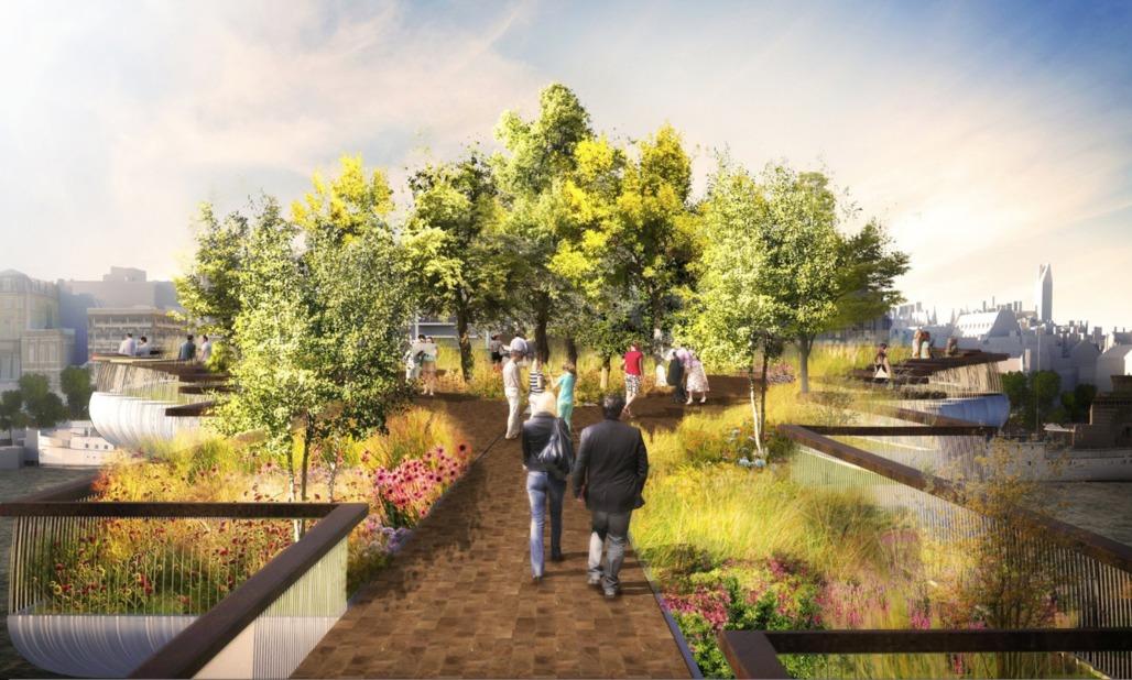 Khan's decision over the Thomas Heatherwick-designed bridge risks delaying completion of a project due to open in 2018. Image by Arup/Heatherwick Studio via theguardian.com/politics/2016/jul/11/london-mayor-sadiq-khan-blocks-extra-funds-garden-bridge#img-1