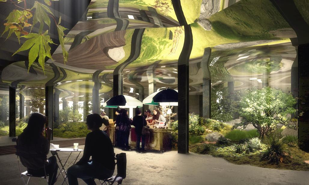 Laughing it up underground: a rendering of cafe goers enjoying the freshly approved Lowline in NYC. Image: Lowline.