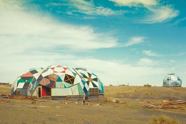 """Clark Richert, view of Drop City, """"the Complex,"""" in El Moro, outside Trinidad, Colorado, c. 1966"""