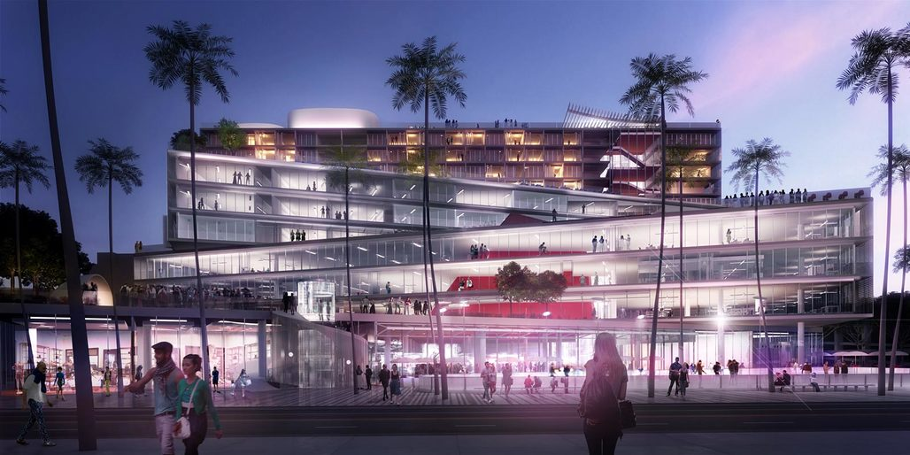 OMAs competition-winning design The Plaza at Santa Monica, view from Arizona Ave, Image © OMA