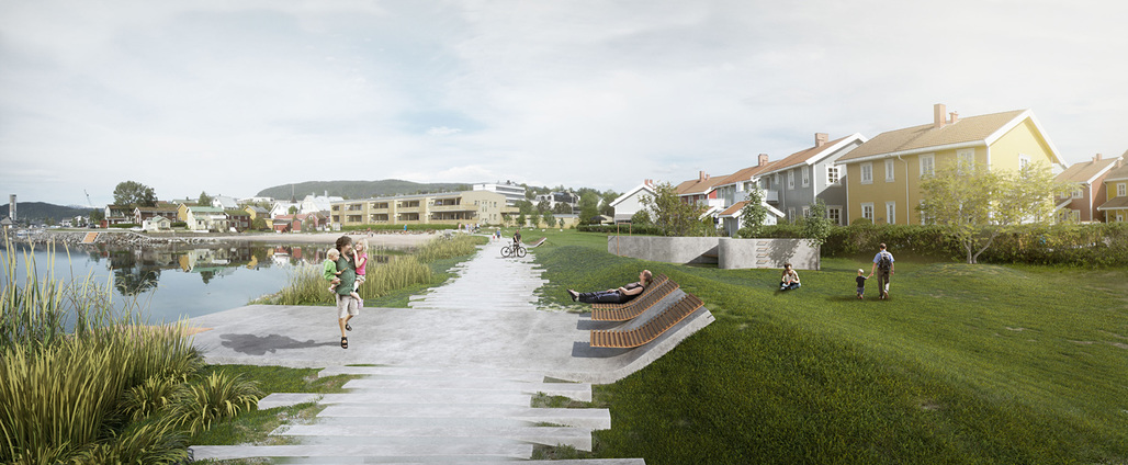 1st place entry for Mo i Rana Waterfront by Arkitektgruppen Cubus. Image courtesy of Arkitektgruppen Cubus