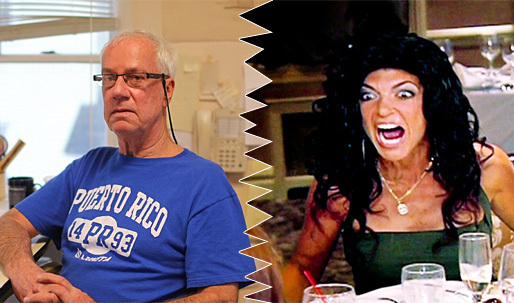 """""""Its offensive:"""" Architect John Fellgraff (left) is furious that—supposedly—bankrupt New Jersey Housewife Teresa Giudice (right) wont pay him for his services but can afford a $90,000 Lexus SUV as a getting-out-of-jail gift. (Photos: Joe Donnelly/Dailymail.com; Bravo)"""