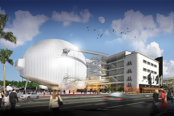 A rendering of the planned film academy museum, as seen from Fairfax Avenue. (©Renzo Piano Building Workshop/Academy of Motion Picture Arts and Sciences / March 19, 2014)