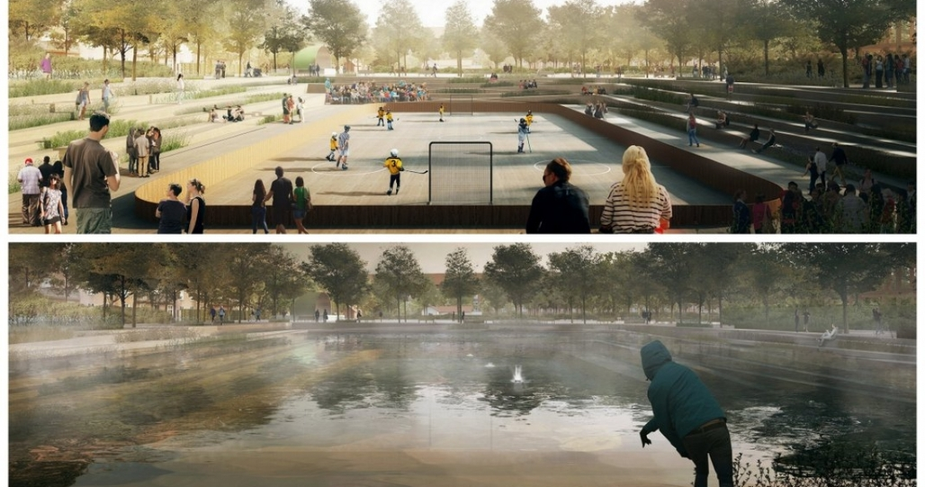 Copenhagens new Enghaveparken will have spaces that can host sporting events during dry weather and fill with water during heavy rains. (COWI, TREDJE NATUR and Platant). Info via citiscope.org